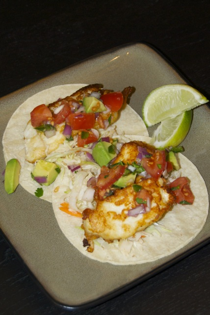 Beer battered fish tacos with tomato avocado salsa for Fish taco batter