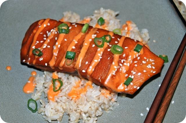 Teriyak iGlazed Salmon with Sriracha Cream Sauce