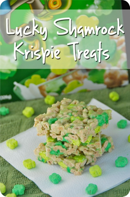 Lucky Shamrock Krispie Treats for St. Patrick's Day