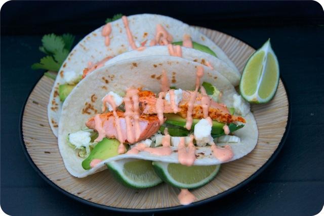 Salmon Tacos with Honey-Lime Slaw and Sriracha Ranch
