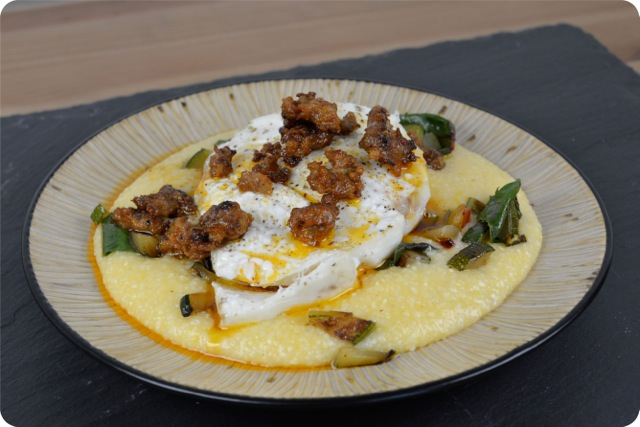 Baked Halibut with Chorizo Butter and Cheesy Grits