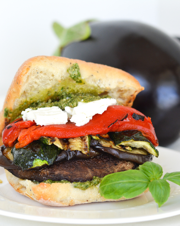 Grilled Portobello And Veggie Sandwiches With Goat Cheese And Pesto Mayo Flying On Jess Fuel