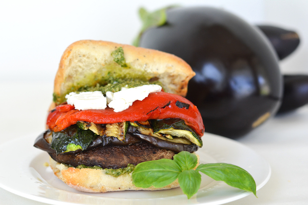 Grilled Portobello and Veggie Sandwiches with Goat Cheese ...
