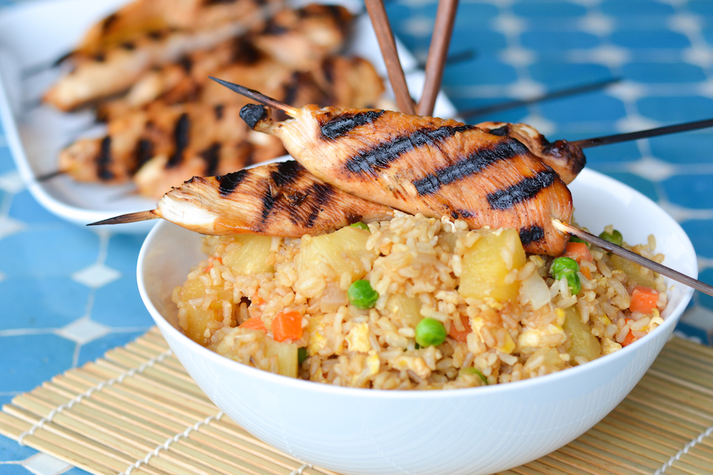 Pineapple fried rice with pineapple soy glazed chicken skewers especially with the quick cooking minute rice we had leftovers the next day and this reheated really well so this would be a great meal to make ahead for ccuart Choice Image